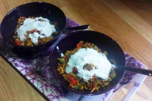 Sweet Potato Noodles With Roasted Chickpeas & Cashew Cream